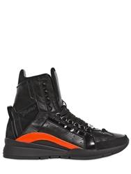 Dsquared 551 Nubuck And Leather High Top Sneakers Black Orange