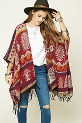 Forever 21 Fuzzy Tribal Print Poncho Cream Red