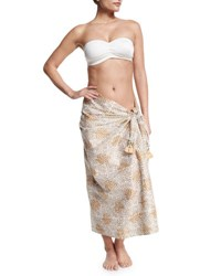 Flora Bella Fern Printed Sarong White Natural