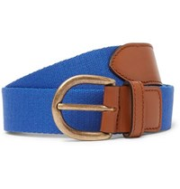 Anderson And Sheppard 3Cm Blue Webbing Leather Belt