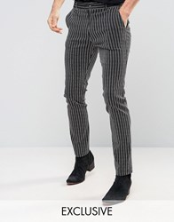 Reclaimed Vintage Skinny Trousers In Pinstripe Navy Black