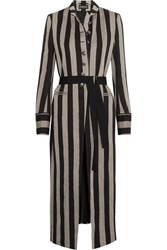 Ann Demeulemeester Striped Linen Blend Coat Black
