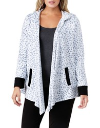 Dkny Plus Animalia Printed Hooded Open Front Jacket White