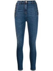 Elisabetta Franchi Side Button Skinny Jeans Blue