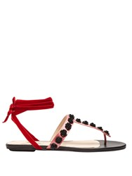 Attico Vanessa Sequin Embellished Satin Sandals Pink Multi