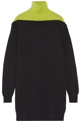 Alexander Wang Two Tone Merino Wool Sweater Dress Black