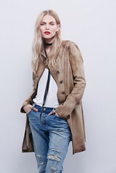 Free People Distressed Leather Blazer