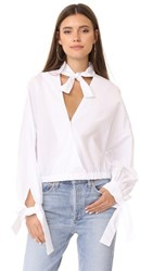 Fame And Partners Surplice Blouse White