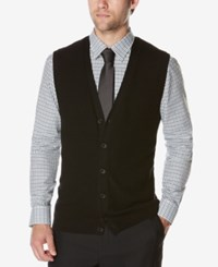 Perry Ellis Men's Button Front Sweater Vest Black