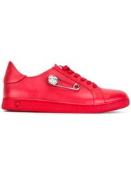 Versus Studded Pin Lace Up Trainers Red