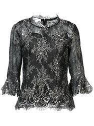 Oscar De La Renta Elbow Bell Sleeve Embellished Blouse Black