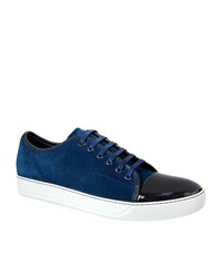 Lanvin Suede Patent Trainers Male Blue