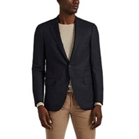 Isaia Sanita Donegal Wool Silk Two Button Sportcoat Navy