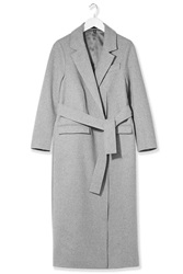 Belted Wool Wrap Coat By Boutique Grey Marl