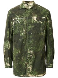 11 By Boris Bidjan Saberi Washed Camouflage Print Jacket Green