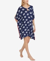 Ellen Tracy Elephant Tassel Trim Ultra Soft Caftan Navy Graphic