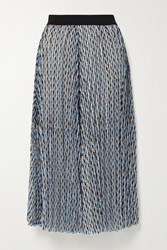 Maje Pleated Metallic Printed Georgette Midi Skirt Light Blue