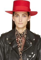 Saint Laurent Red Wide Brim Hat