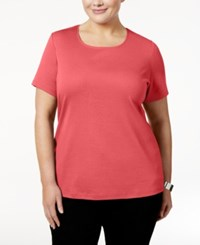 Karen Scott Plus Size Cotton Scoop Neck T Shirt Only At Macy's Peony Coral