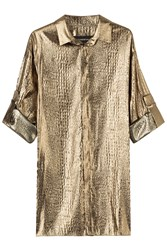 Alexandre Vauthier Metallic Silk Blend Blouse Gold