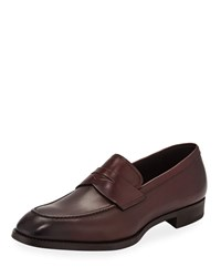 Giorgio Armani Smooth Leather Penny Loafers Burgundy