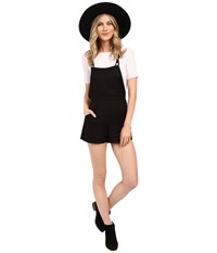 Billabong Free To Roam Overall Shorts Off Black Women's Overalls One Piece