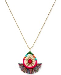 Thalia Sodi Gold Tone Stone And Wrapped Thread Pendant Necklace 32 3 Extender Pink Turq Blue
