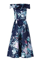 Jolie Moi Bardot Neckline Prom Dress Navy