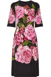 Dolce And Gabbana Floral Print Crepe Dress Black