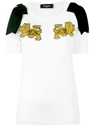 Dsquared2 Lion Embroidered T Shirt Women Cotton Xs White