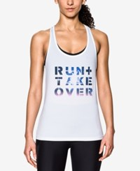 Under Armour Run Graphic Racerback Tank Top White
