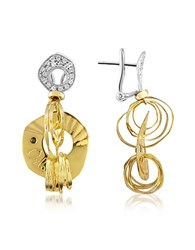 Orlando Orlandini Fashion Diamond 18K Two Tone Gold Drop Earrings