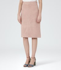 Reiss Tess Womens Suede A Line Pencil Skirt In Pink