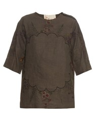 By Walid Isabel Linen Top Khaki