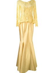Martha Medeiros Lace Top Gown Yellow And Orange