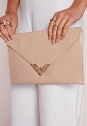Missguided Patent Envelope Clutch Metal Trim Nude Beige