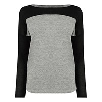 Oasis Colour Block Jersey Top Mid Grey