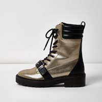 River Island Womens Gold Metallic Buckle Boots