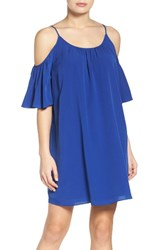 French Connection Women's 'Polly' Cold Shoulder Shift Dress Monarch Blue