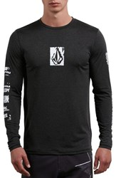 Volcom Lido Pixel Graphic Long Sleeve T Shirt Charcoal Heather