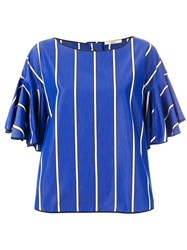 Odeeh Flared Sleeve Top Blue