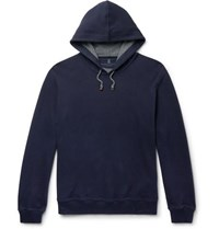 Brunello Cucinelli Fleece Back Cotton Jersey Hoodie Blue