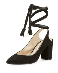 Valentina Carrano Steph Suede Ankle Wrap Pump Black