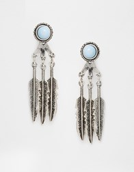 Asos Feather Swing Earrings Turquoise Blue