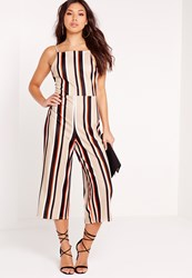 Missguided Crepe Striped Culotte Jumpsuit Camel Beige