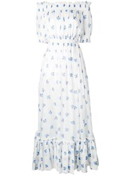 Alexander Mcqueen Off The Shoulder Floral Long Dress Women Cotton 42 Blue