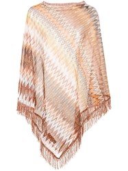 Missoni Asymmetric Draped Poncho Women Nylon Viscose One Size Brown