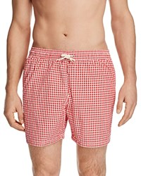 Barbour Gingham Swim Trunks Red