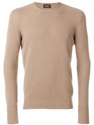 Drumohr Crew Neck Sweater Lambs Wool Brown