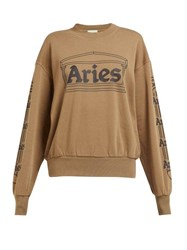 Aries Logo Print Cotton Sweatshirt Green